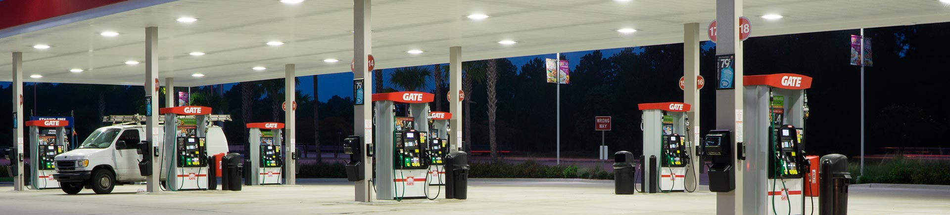 A Gate Petroleum gas station at night