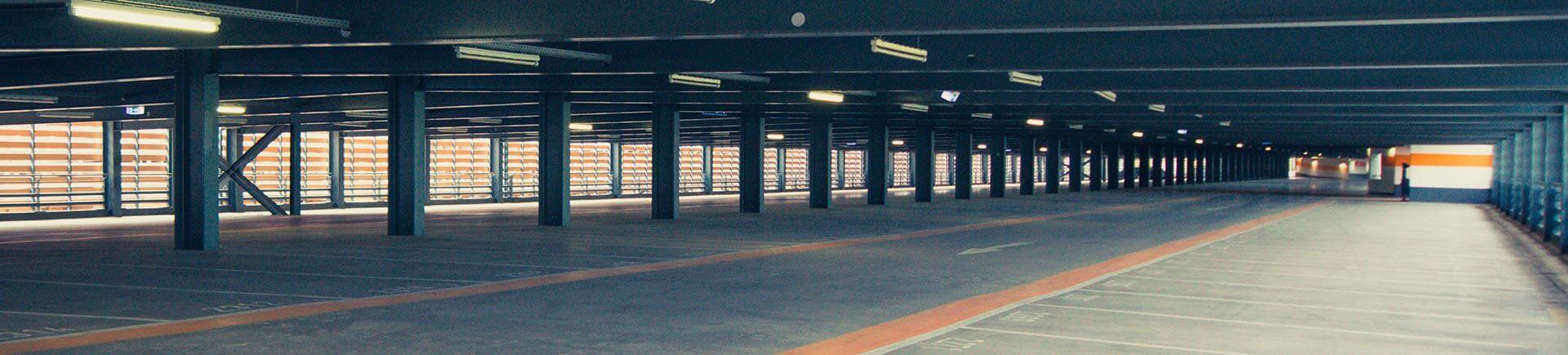 empty parking garage after pressure washing